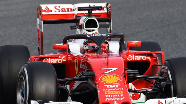 Raikkonen testing the new halo ©SkySportsF1